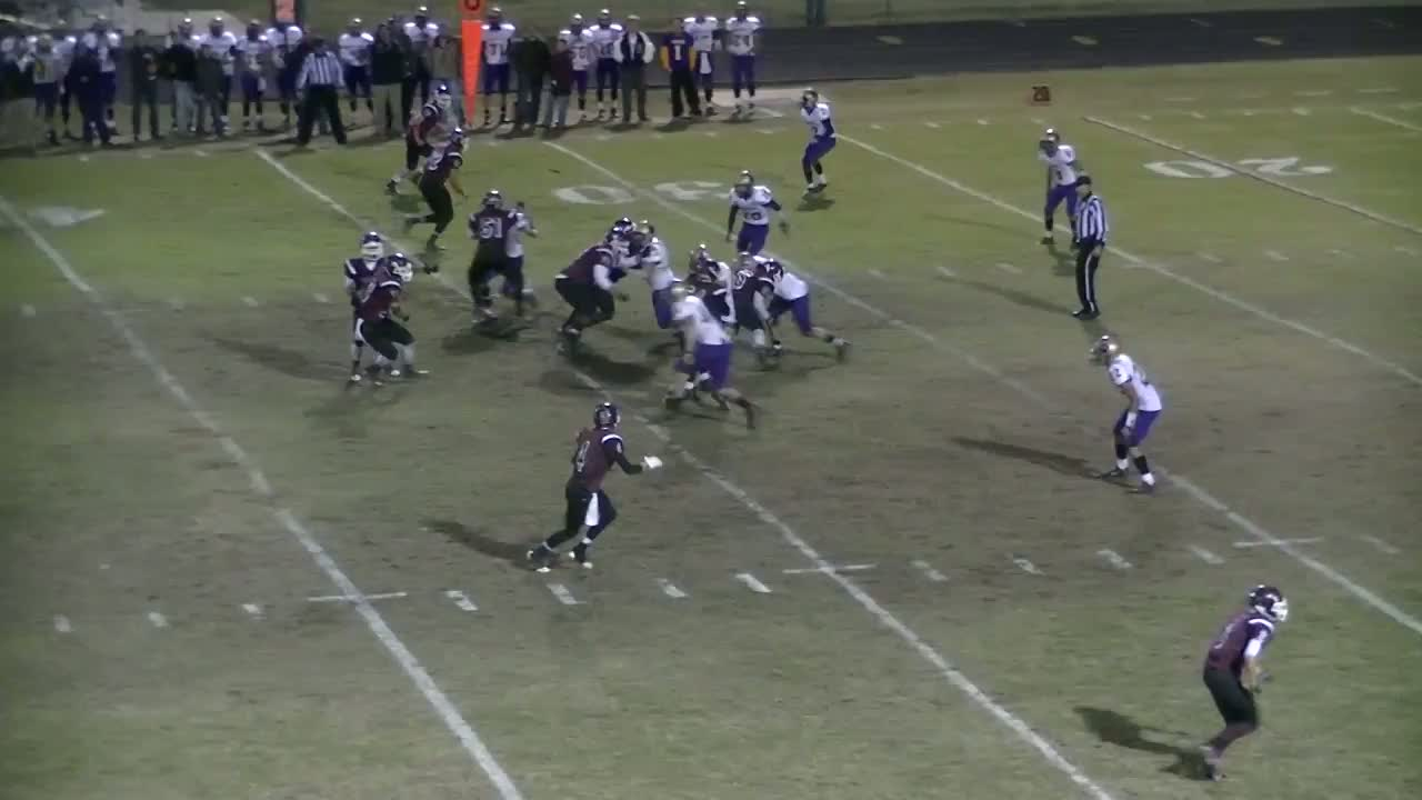 Jake Faulkenberry playing football against Berryville during the 2013-2014  Season for Gentry High School in Gentry, AR